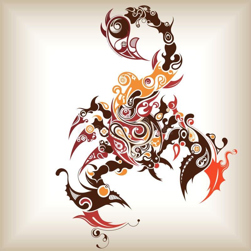 蝎子纹身花刺 库存例证