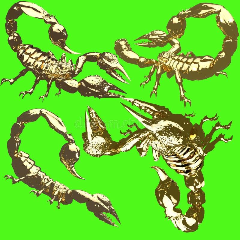蝎子金雕象  库存照片