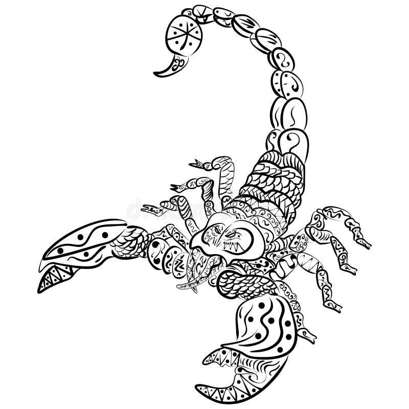 zentangle传染媒介蝎子和zentangle艺术 种族被仿造的例证,纹身花刺