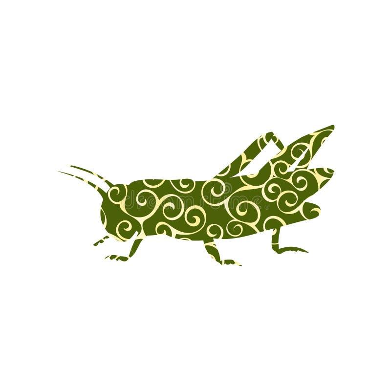 蝗虫蚂蚱昆虫螺旋样式颜色剪影动物 向量例证