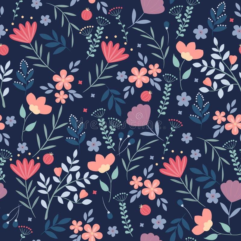蝴蝶下落花卉花重点模式黄色 在深蓝背景的俏丽的花 打印与小五颜六色的花 Ditsy印刷品 无缝 库存例证