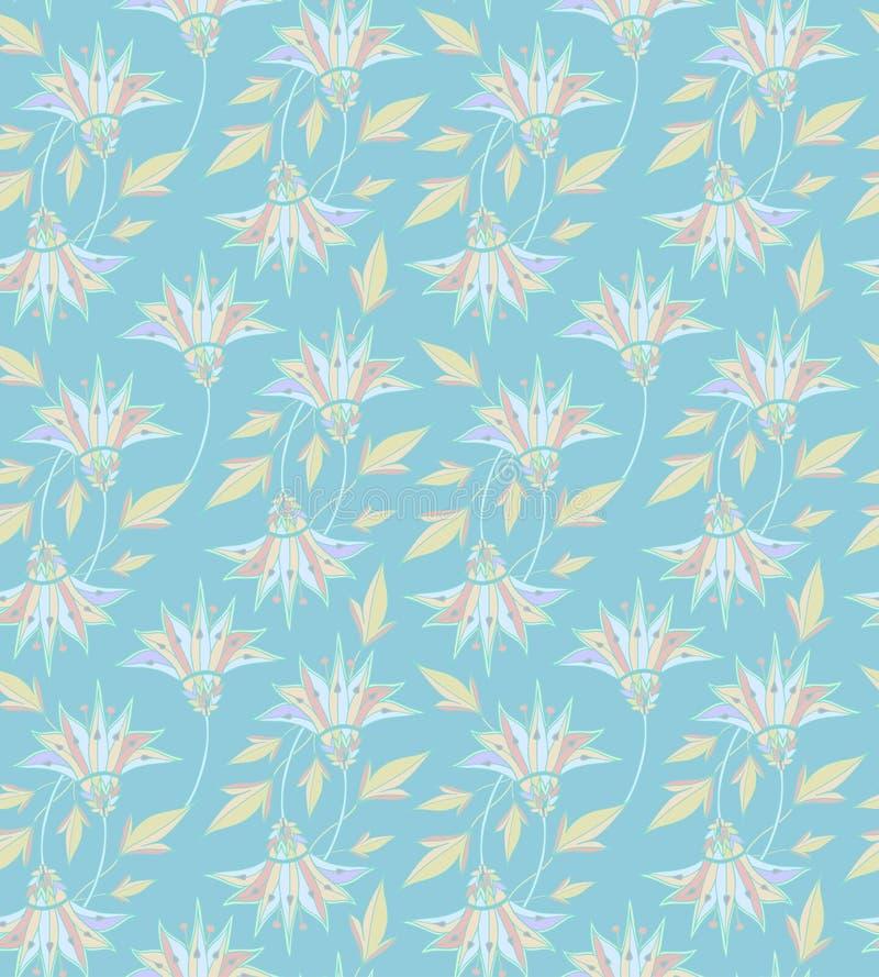 蝴蝶下落花卉花重点模式黄色 无缝背景的花 华丽装饰庭院 无缝好印刷品织物的 对网 向量例证