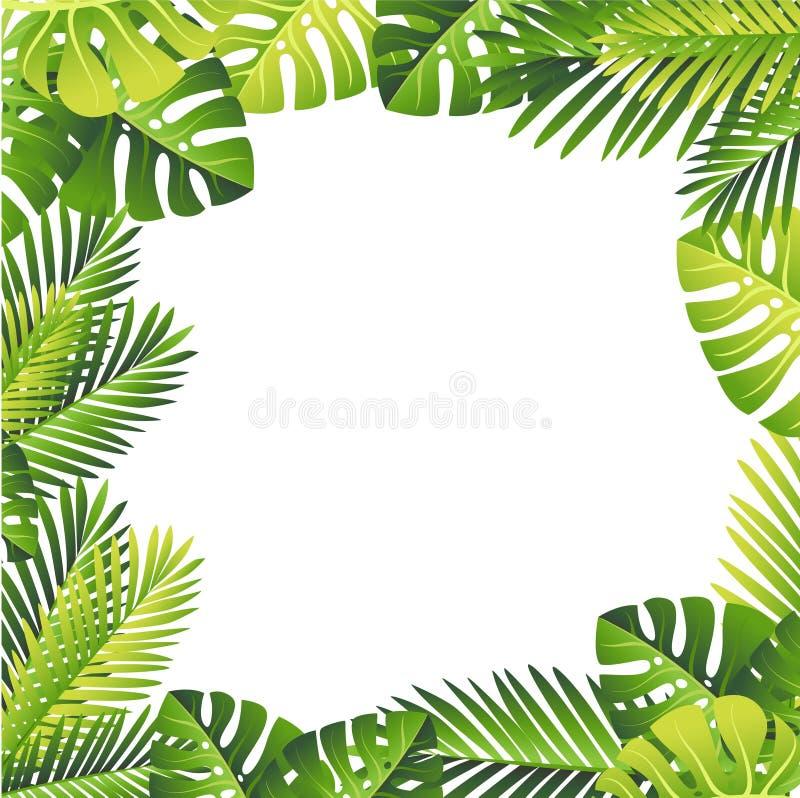 蝴蝶下落花卉花重点模式黄色 绿色留给热带 异乎寻常的密林和棕榈叶 在白色背景的传染媒介花卉元素 皇族释放例证