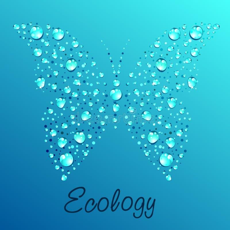 蝴蝶丢弃水 向量例证