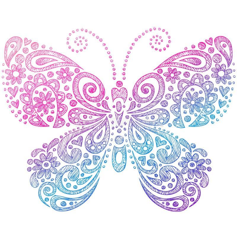 蝴蝶乱画概略的笔记本 库存例证