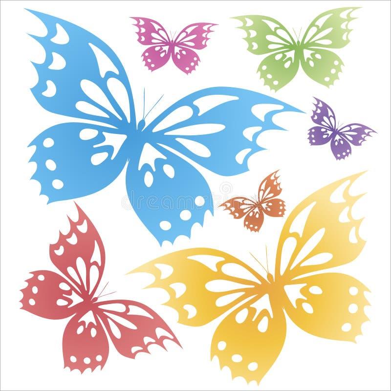 蝴蝶五颜六色在白色背景 T恤杉印刷品 库存图片