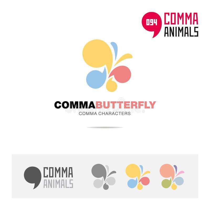 蝴蝶动物概念象集合和现代品牌身份商标模板和根据逗号的app标志签字 皇族释放例证