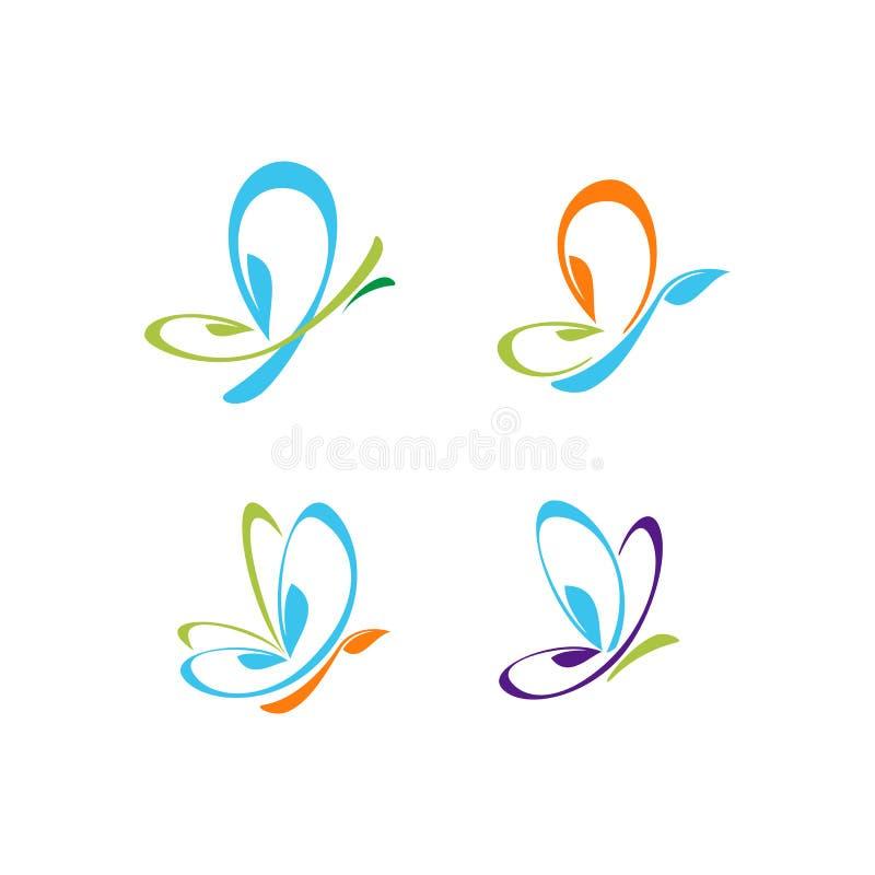 蝴蝶叶子五颜六色的传染媒介商标 库存例证