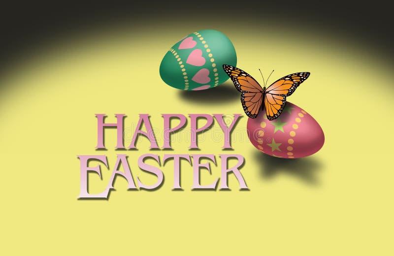 蝴蝶和五颜六色的复活节彩蛋 向量例证