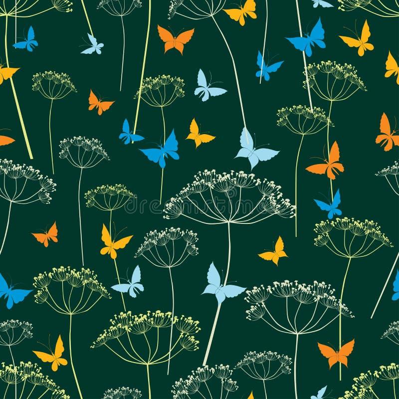 蝴蝶和伞状花的植物无缝的背景  库存例证