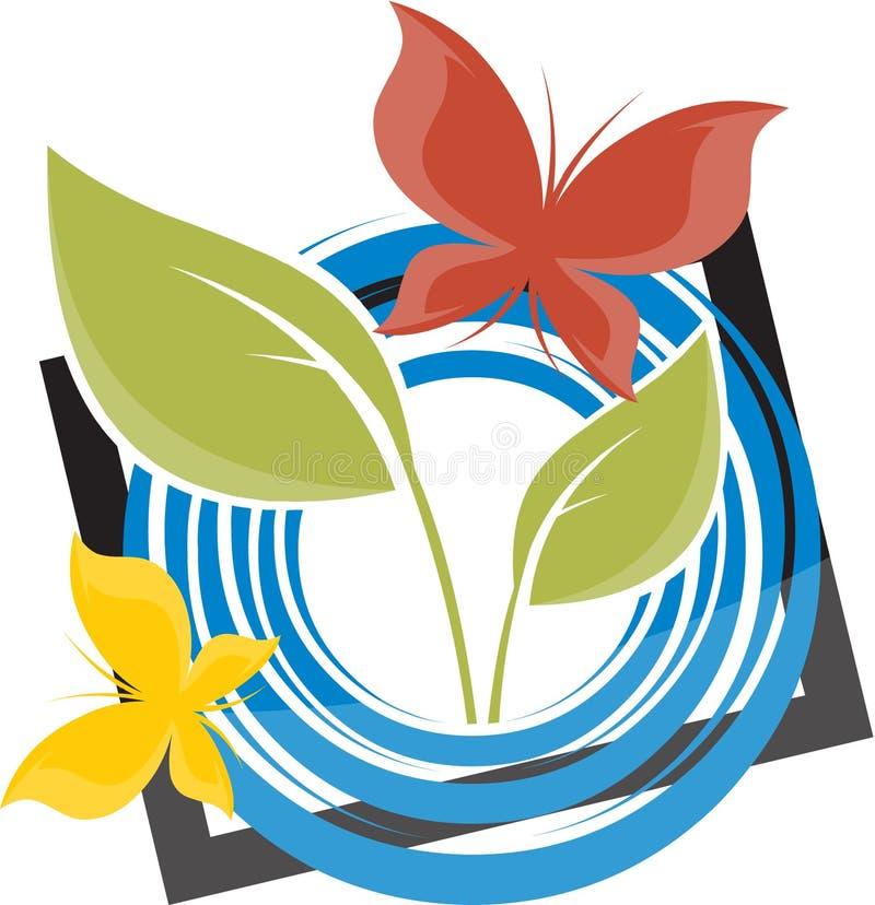 蝴蝶和叶子设计 皇族释放例证