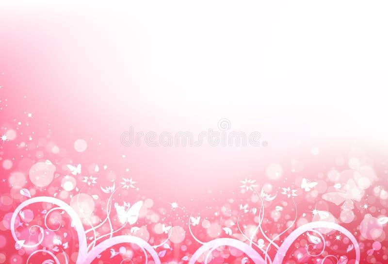 蝴蝶和叶子驱散与迷离新鲜浪漫和星s 库存例证