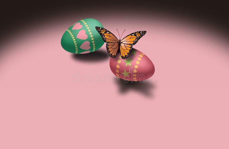 蝴蝶和复活节彩蛋 库存例证