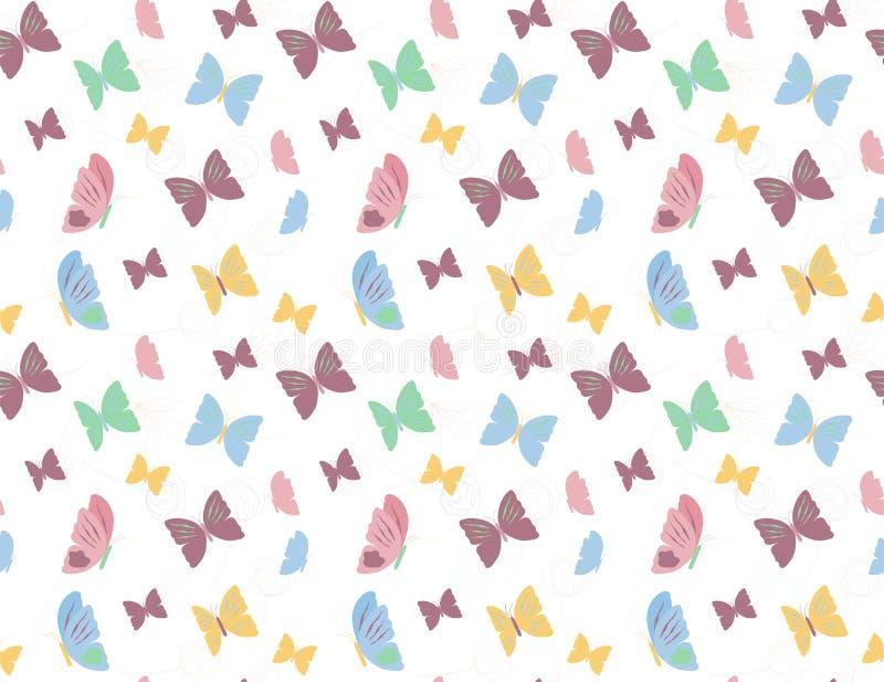 蝴蝶和花纹花样背景 皇族释放例证