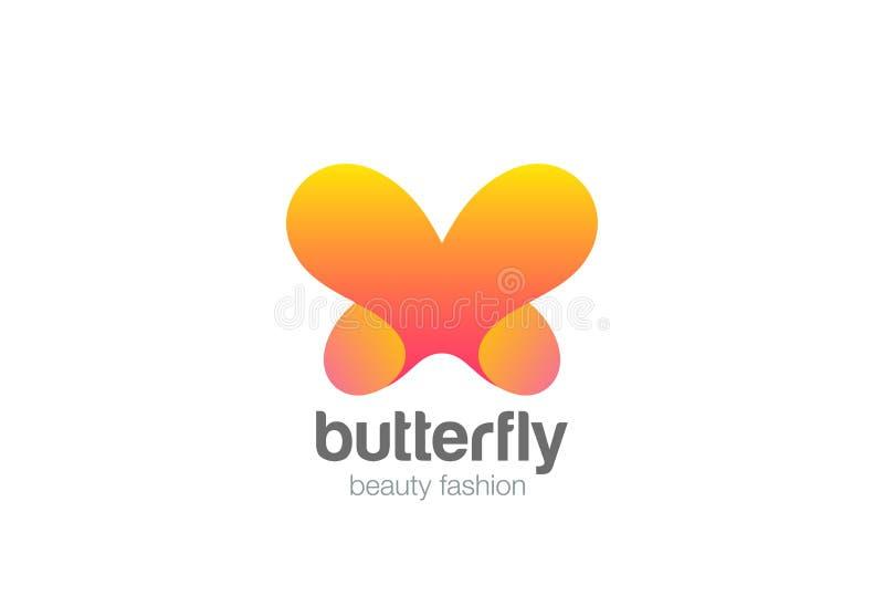 蝴蝶商标摘要设计秀丽化妆用品的传染媒介模板烙记 向量例证