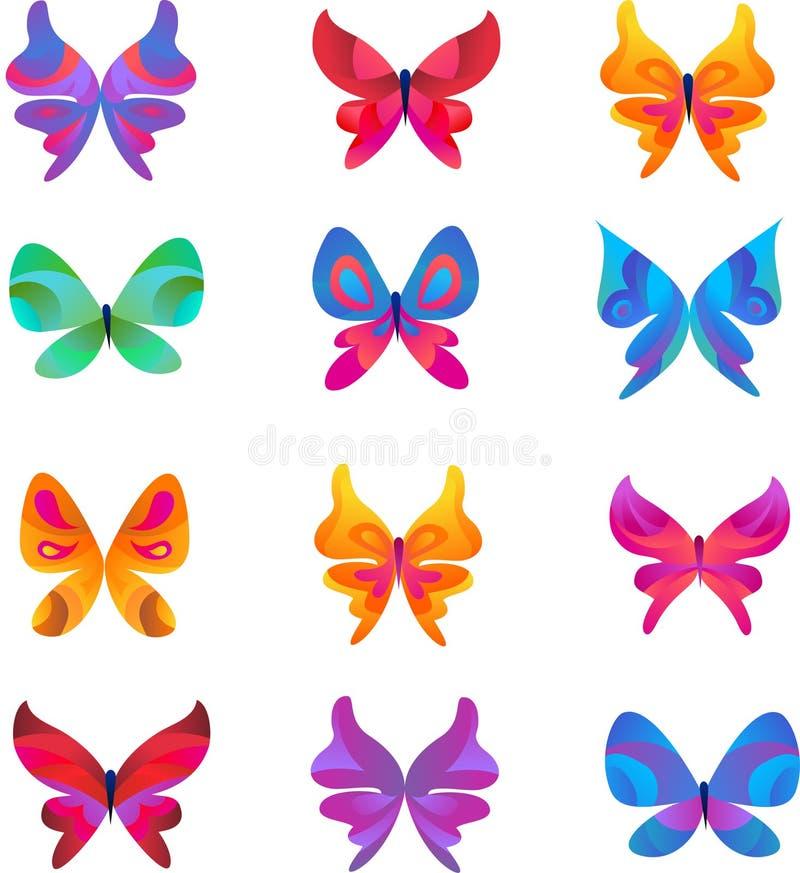 蝴蝶图标和符号的收集 库存例证
