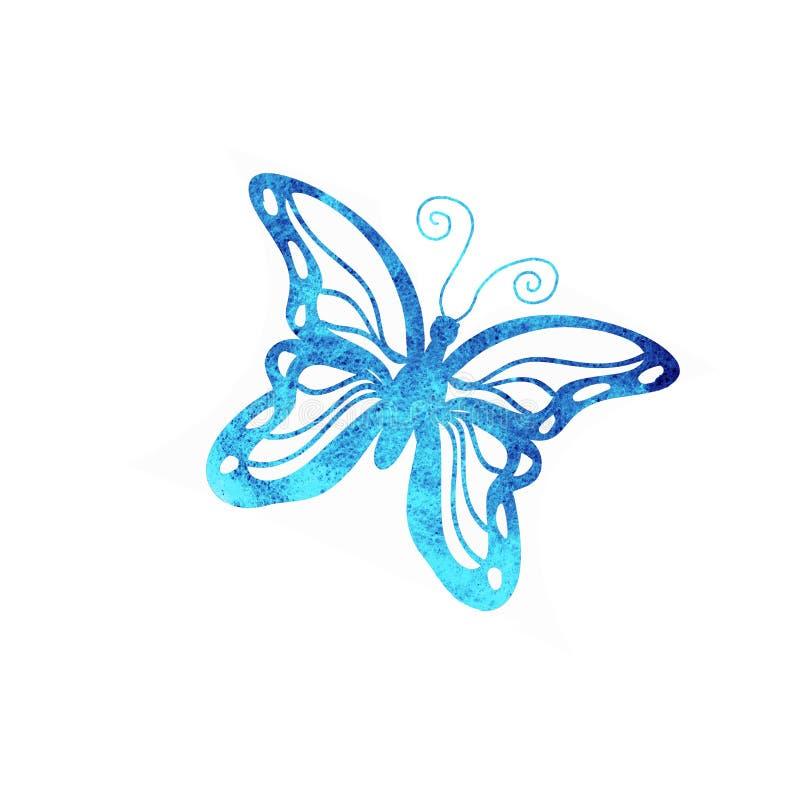 蝴蝶在白色背景隔绝的水彩剪影 库存例证