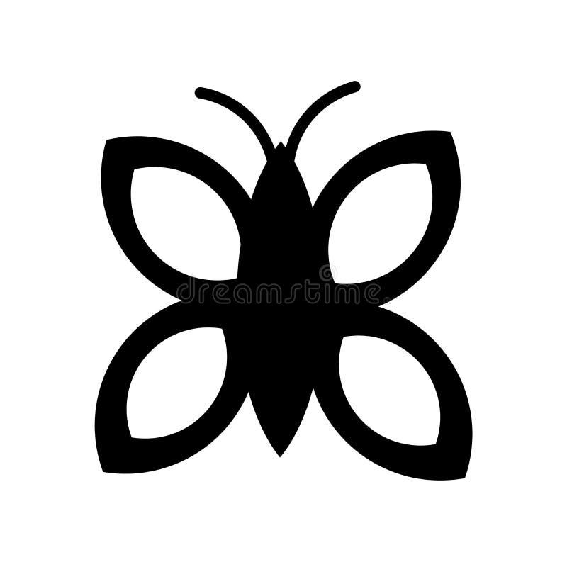 蝴蝶在白色背景隔绝的象传染媒介,蝴蝶标志,黑标志 向量例证
