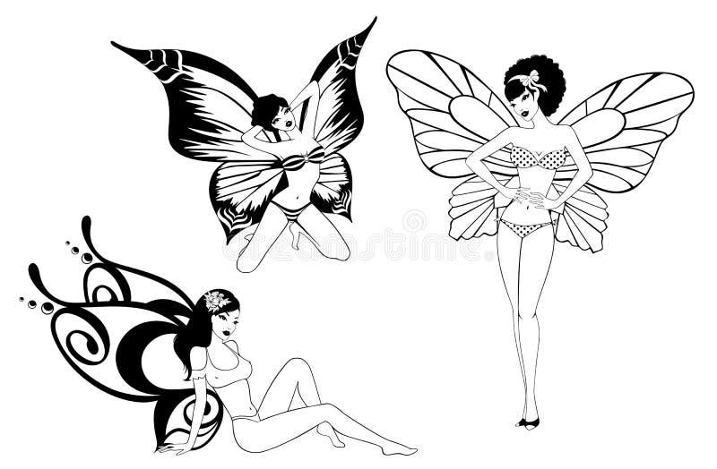 蝴蝶女孩俏丽的翼 库存例证