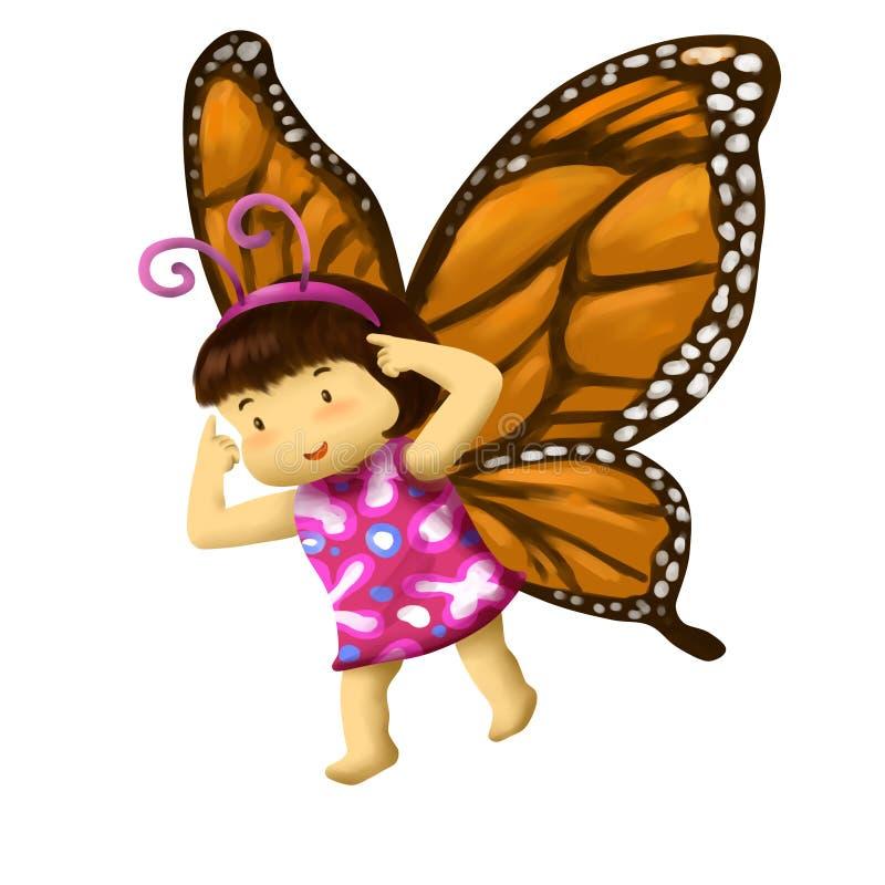 蝴蝶女孩,在蝴蝶服装的女孩礼服 向量例证