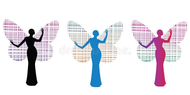 蝴蝶女装设计方式妇女 库存例证