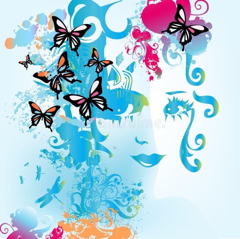 蝴蝶妇女 向量例证