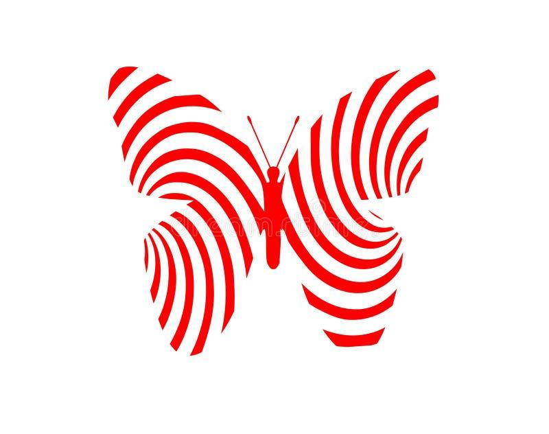 蝴蝶对象红色装饰品白色背景 库存例证