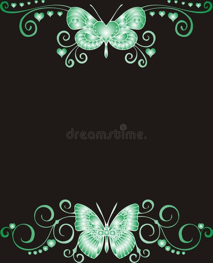 蝴蝶插件边框绿色问候 皇族释放例证
