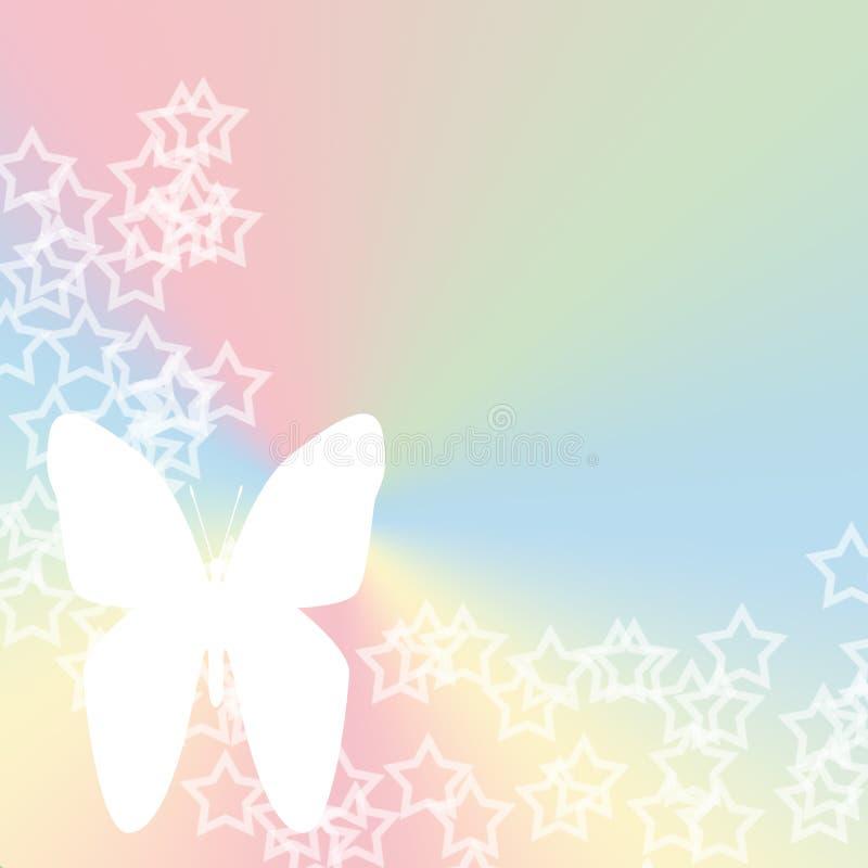 蝴蝶柔和的淡色彩星形 库存例证