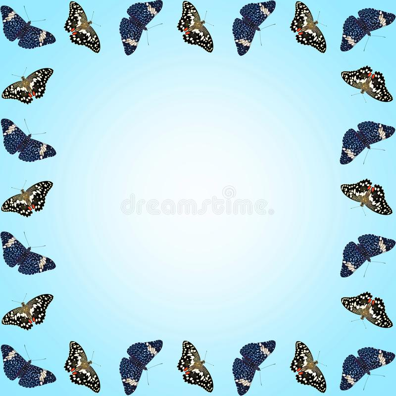 蝴蝶框架与拷贝空间的在蓝色梯度背景 库存例证
