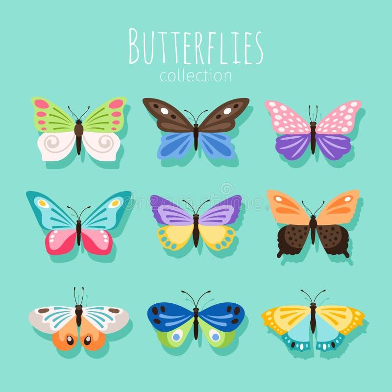 蝴蝶汇集例证 在与色的翼的白色背景隔绝的春天蝴蝶 皇族释放例证