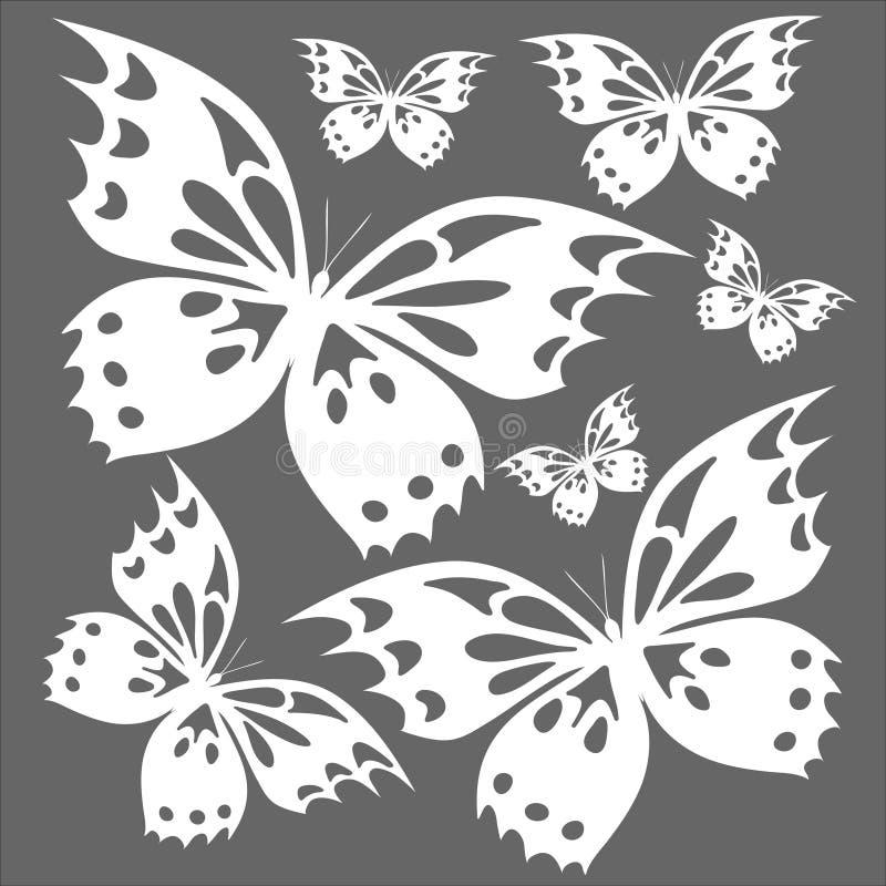 蝴蝶白色在灰色背景T恤杉打印 免版税库存照片