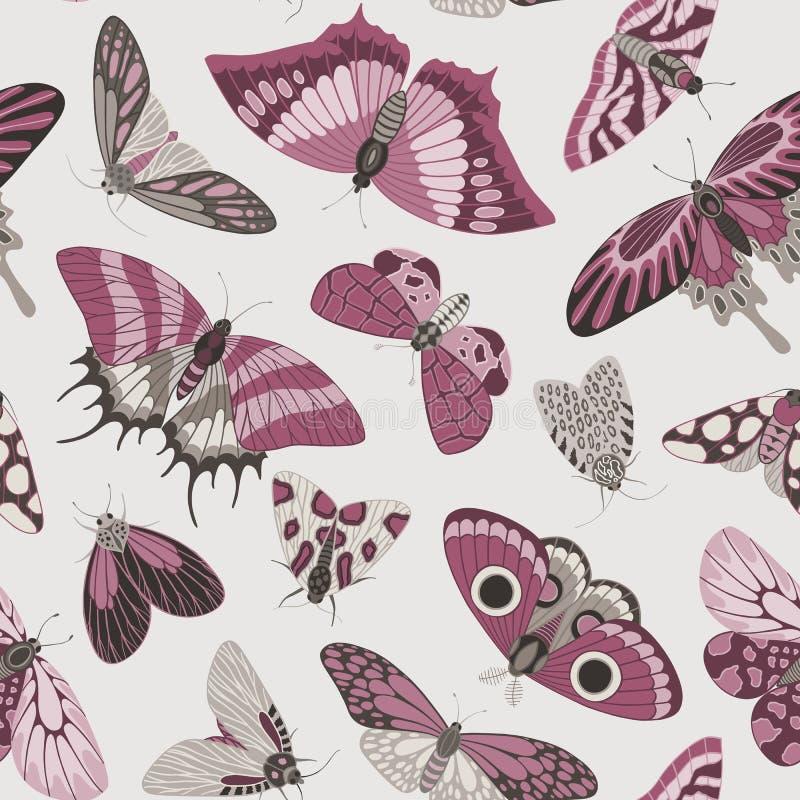 蝴蝶的无缝的手拉的样式 皇族释放例证