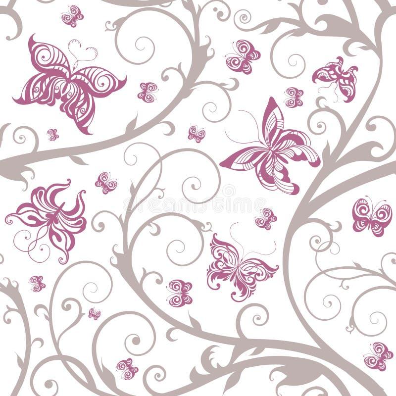 蝴蝶花卉模式浪漫无缝 库存例证