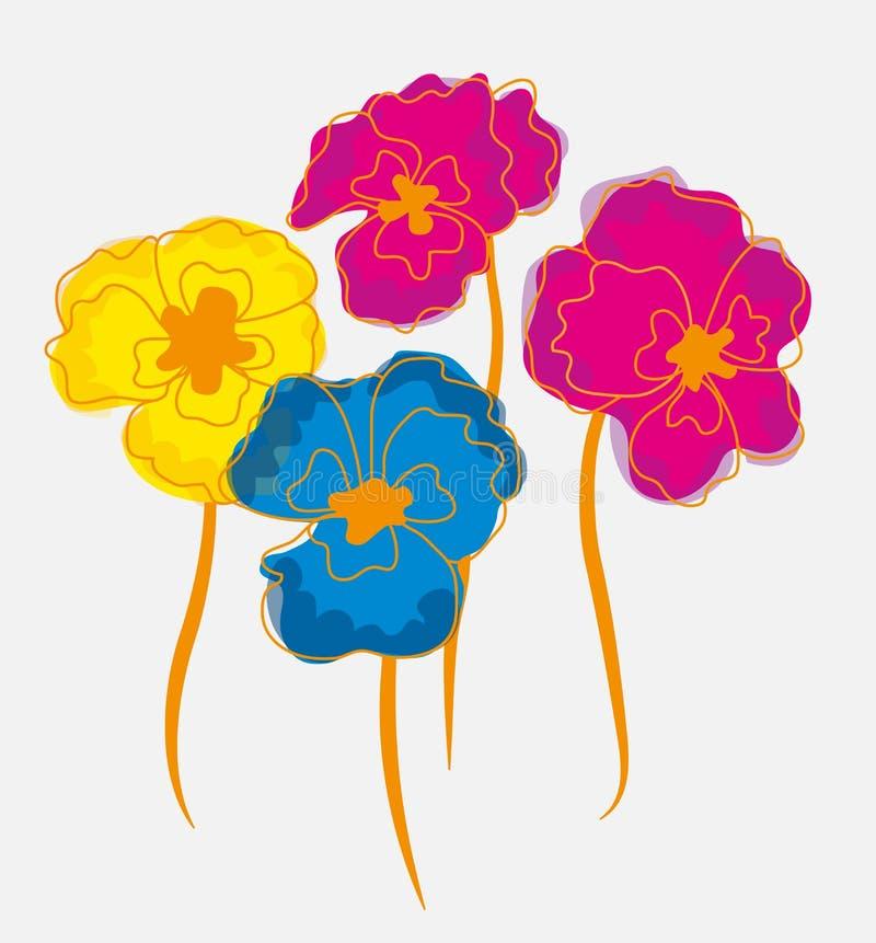 蝴蝶花或印地安水芹花例证 库存例证