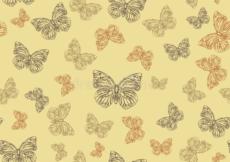 蝴蝶被画的质朴的现有量 向量例证