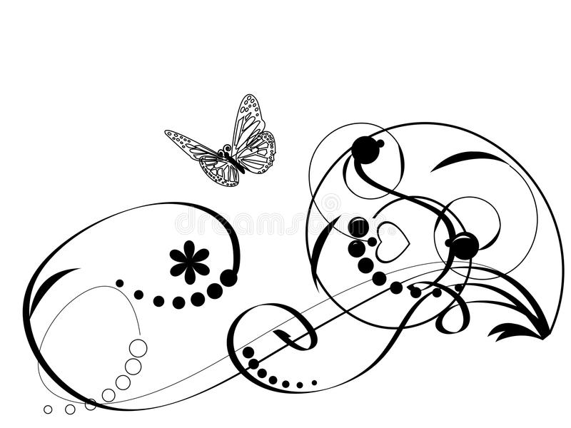 蝴蝶装饰要素 库存例证