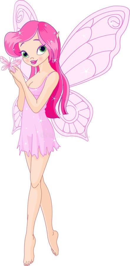 蝴蝶逗人喜爱的神仙的粉红色 向量例证