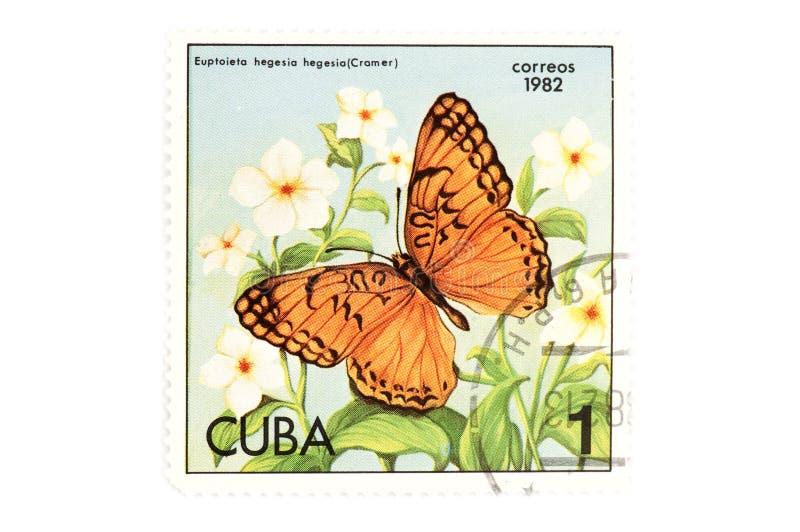 蝴蝶邮票白色 图库摄影