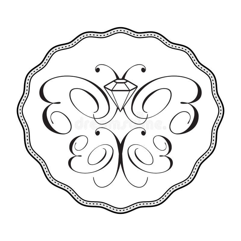 蝴蝶金刚石徽标装饰品 向量例证