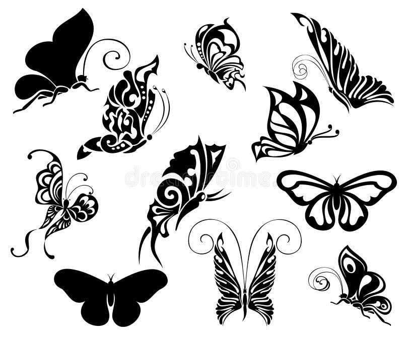蝴蝶集合纹身花刺 向量例证