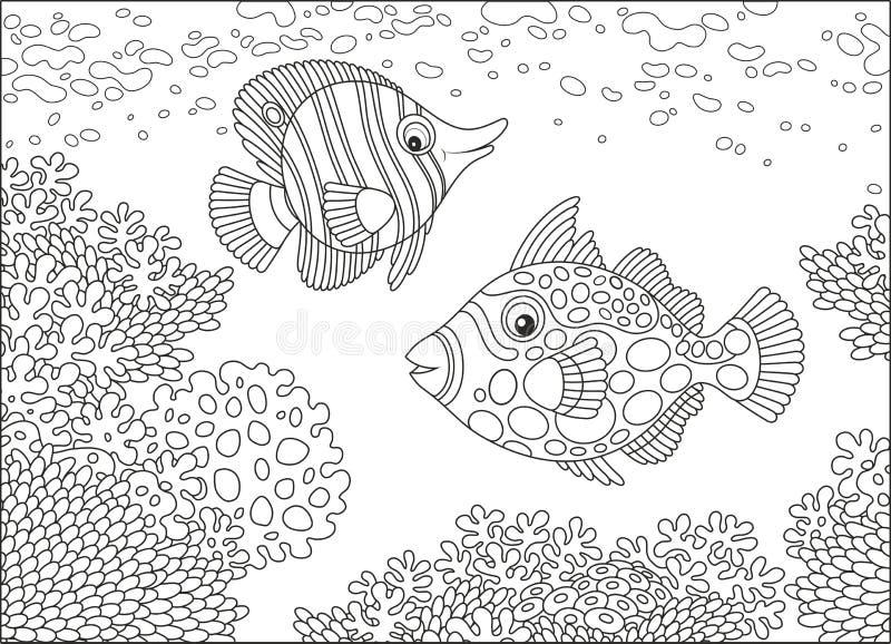 蝴蝶鱼和引金鱼 向量例证