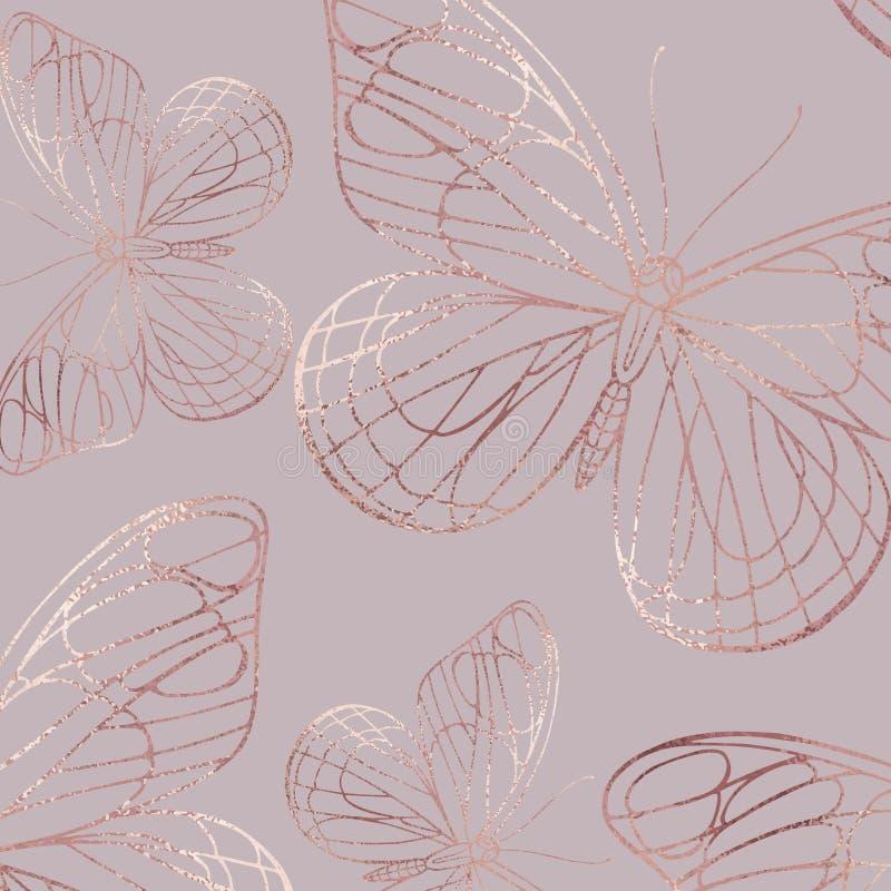 蝴蝶 罗斯金子 与箔作用的典雅的纹理 向量例证