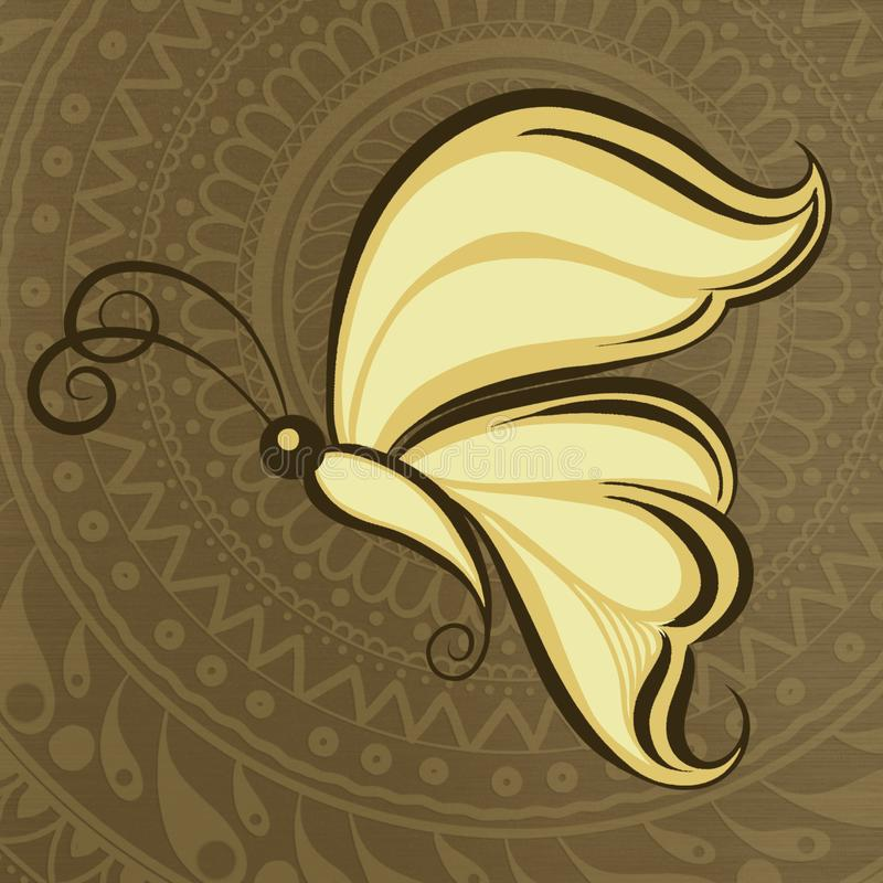 蝴蝶clipart印度mehandi样式 图库摄影