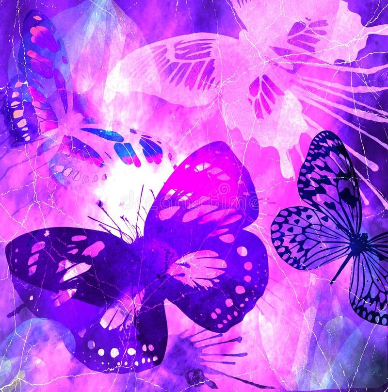 蝴蝶grunge紫罗兰 免版税图库摄影
