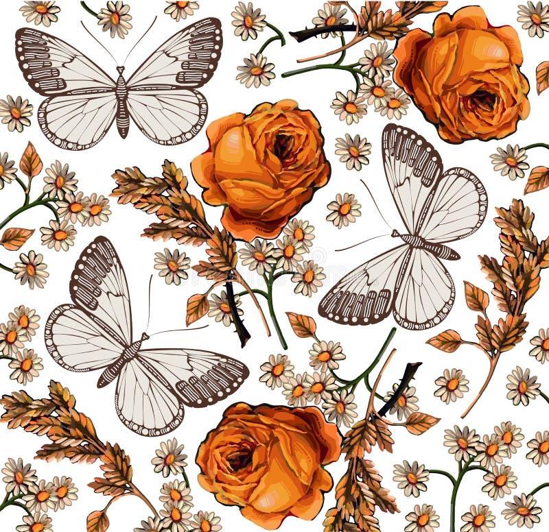 蝴蝶。玫瑰。美好的背景。 库存例证