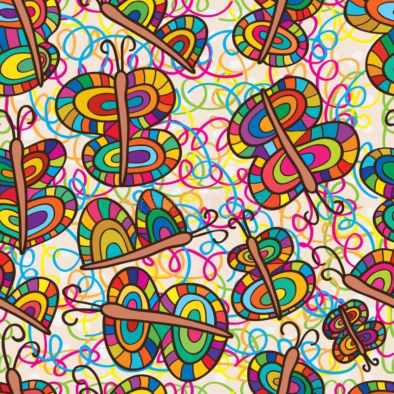 蝴蝶五颜六色的无缝的样式 皇族释放例证