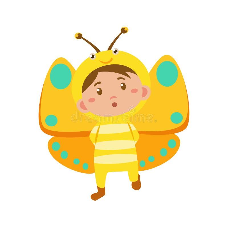 蝴蝶儿童佩带的服装  也corel凹道例证向量 库存例证