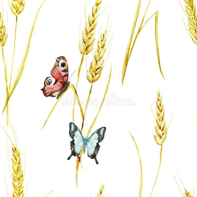 蝴蝶和麦子样式 库存例证