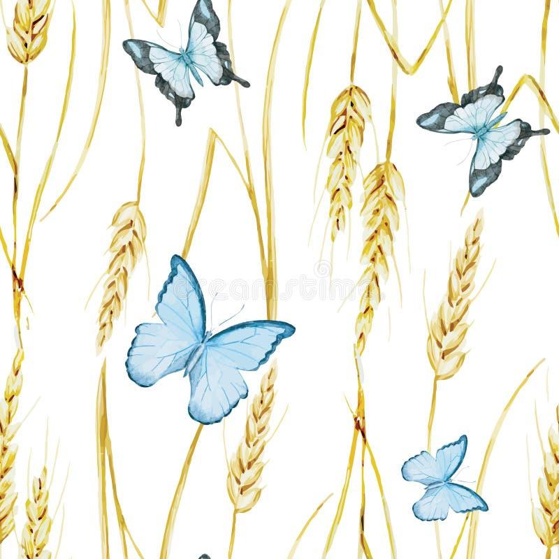 蝴蝶和麦子样式 向量例证